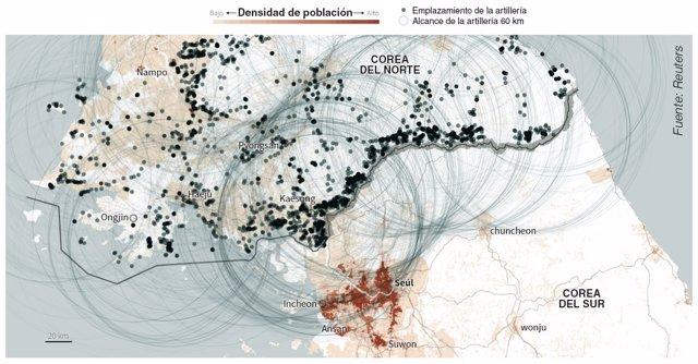 Lugares y alcance de la artillería de Corea del Norte