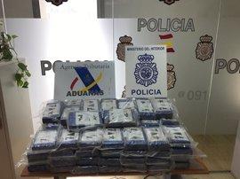 Intervenidos en Algeciras 118 kilos de cocaína en un contenedor de langostinos procedente de Ecuador