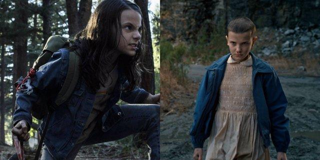 Laura, X-23, (Dafne Keen) y Eleven (Millie Bobby Brown)
