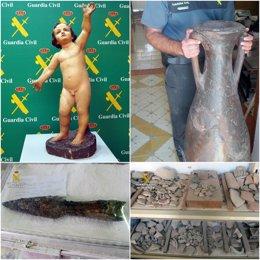 Imágenes de los efectos arqueológicos recuperados por la Guardia Civil