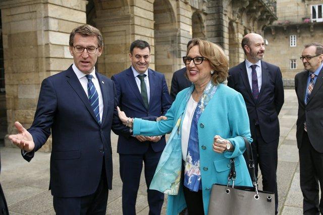 El presidente de la Xunta con la secretaria general iberoamericana