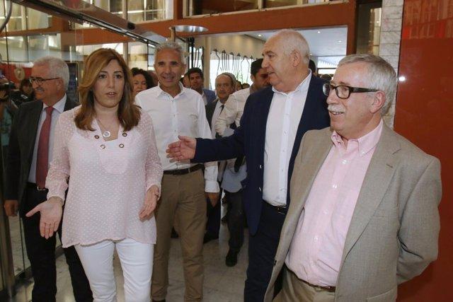 Susana Díaz, con Francisco Carbonero e Ignacio Fernández Toxo