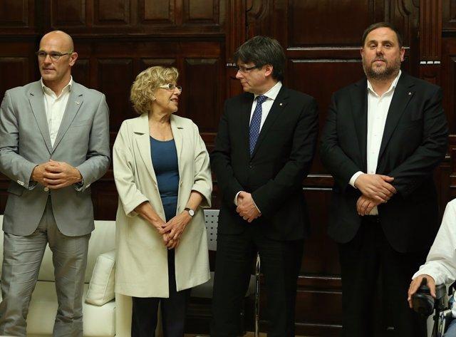 Conferencia de Puigdemont en Madrid con Carmena, Junqueras y Romeva