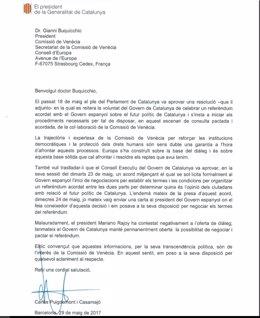 Carta del pte. Carles Puigdemont a la Comisión de Venecia sobre un referéndum