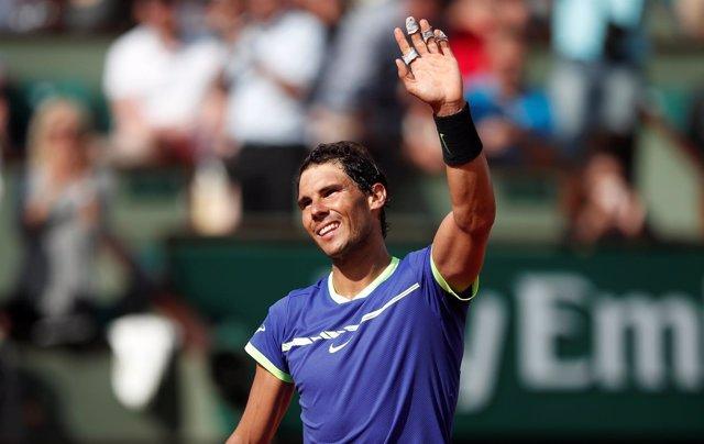 Rafael Nadal celebra una victoria en Roland Garros