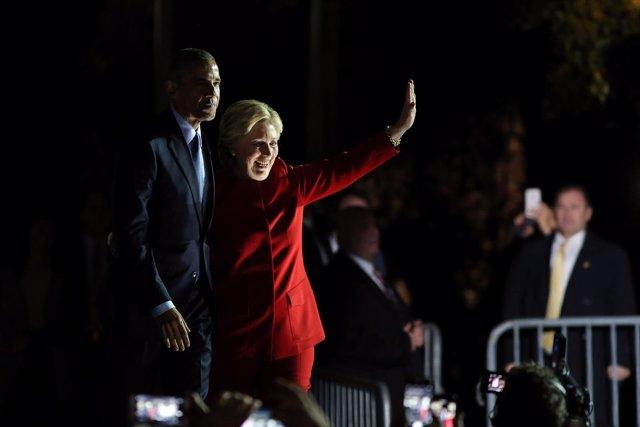Obama y Hillary Clinton en campaña