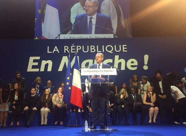 Richard Ferrand, ministro de Cohesión Territorial, en campaña con ¡En Marcha!