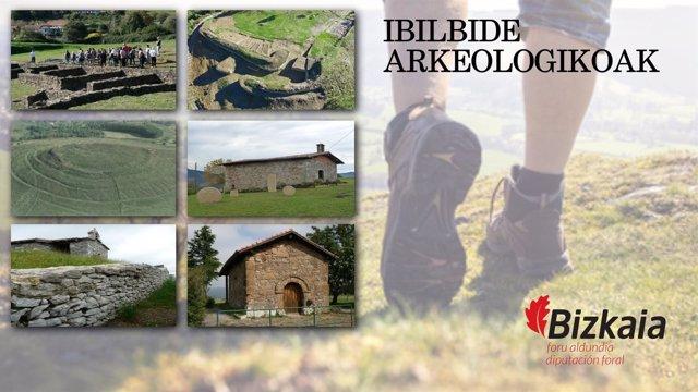 Cartel de itinerarios de Bizkaia