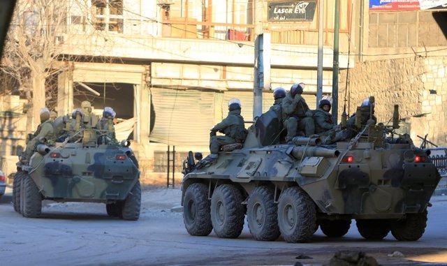 Soldados rusos en Alepo