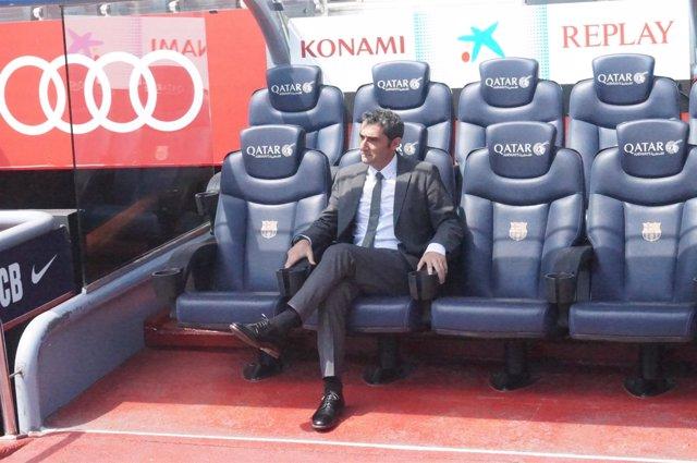 Ernesto Valverde, sentado en el banquillo del FC Barcelona