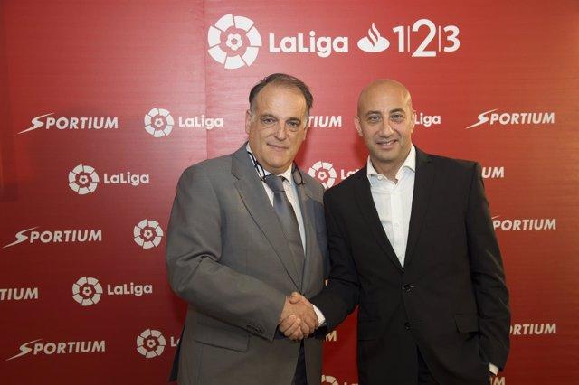 Javier Tebas, presidente de LaLiga en un acto de Sportium