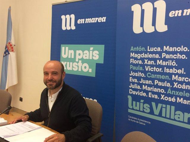 El portavoz de En Marea, Luís Villares, en rueda de prensa
