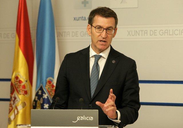 Feijóo en la rueda de prensa posterior al Consello de la Xunta
