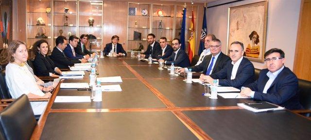 Lete, Francisco Roca y Garbajosa en una reunión en el CSD
