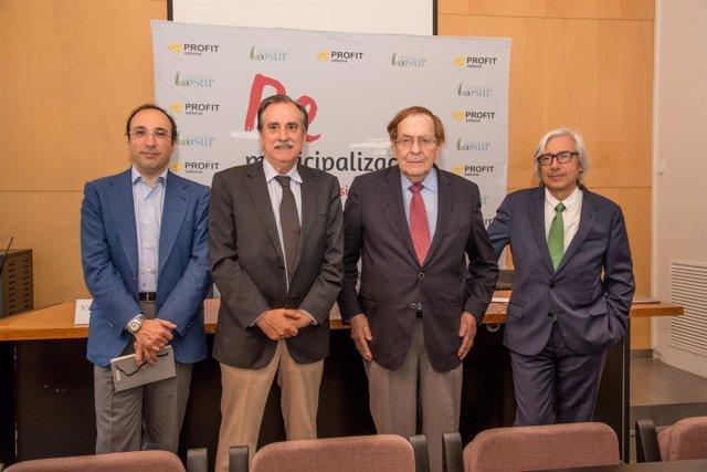 Lorenzo Dávila, Valeriano Gómez, Ramón Tomames y Ramiro Aurín