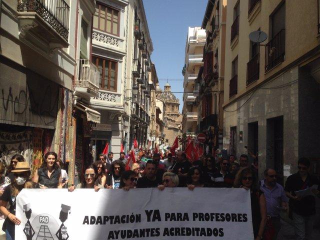 Manifestación de docentes universitarios en Granada