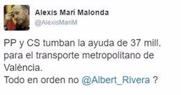 Tuit de Alexis Marí criticando a Cs