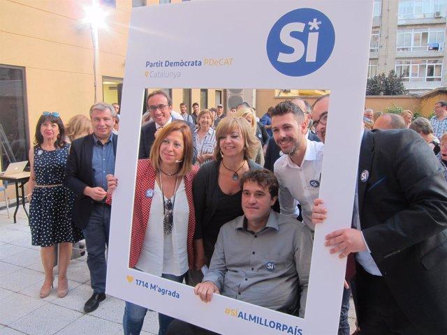 Los miembros del PDeCAT M.Candini, M.Borràs, D.Bonvehí, F.Mateu y X.Tomàs