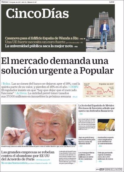 Las portadas de los periódicos económicos de hoy, viernes 2 de junio