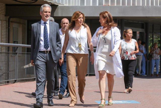 Susana Díaz junto al consejero de Salud a su llegada al Hospital de Valme