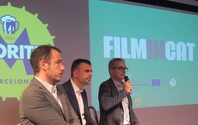 Jaume Ripoll, Santi Vila y J.C.Tous, en la presentación de FilminCAT