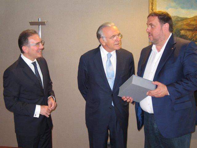 Jaume Giró, Isidre Fainé (Fundació La Caixa, Caixabank), vicepte.Oriol Junqueras