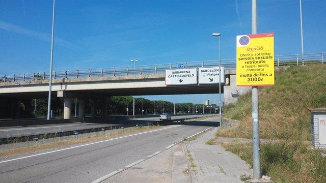 Autovía C-31 a su paso por Castelldefels