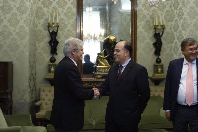 Dastis recibe al presidente de la Asamblea Nacional de Venezuela, Julio Borges