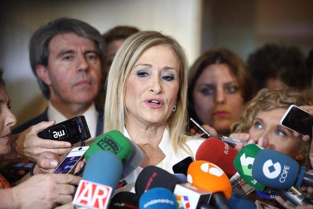 Cristina Cifuentes a su llegada a la comisión de investigación sobre corrupción