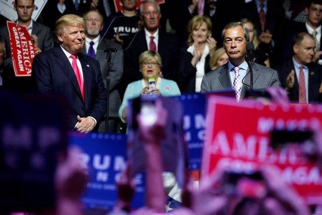 Donald Trump y Nigel Farage en un acto electoral