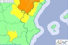 El interior de Castellón está en alerta amarilla por riesgo de lluvias