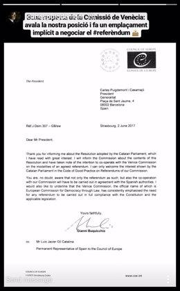 Instagram stories de Carles Puigdemont sobre la carta de la Comisión de Venecia