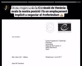 Puigdemont cree que la Comisión de Venecia insta implícitamente al Estado a pactar un referéndum