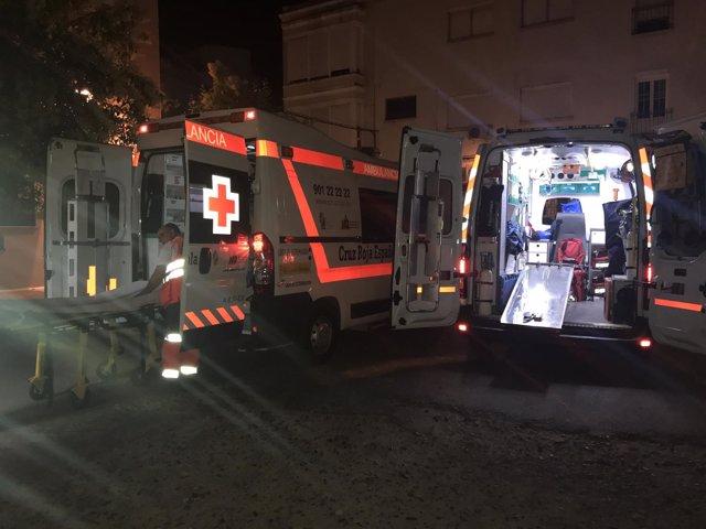 Ambulancias de Cruz Roja en Los Palomos de Badajoz 2017