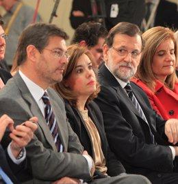 Rafael Catalá, Soraya Sáenz de Santamaría, Mariano Rajoy y Fátima Báñez