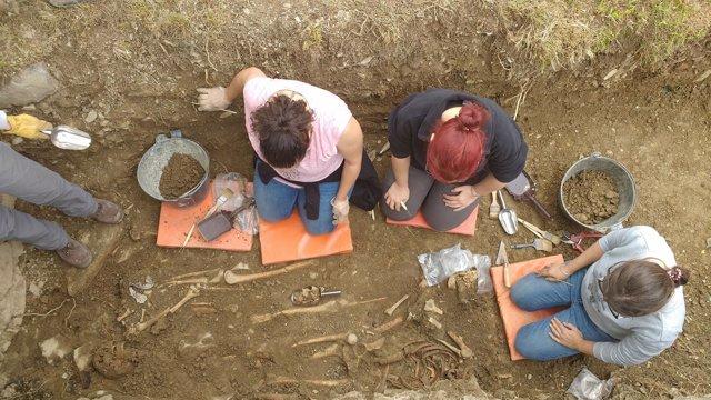 Técnicas de Aranzadi, durante las excavaciones