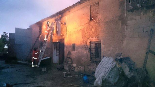 Incendio en una granja de Utiel