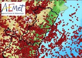 Un total de 4.490 rayos caen en la Comunitat Valenciana el fin de semana