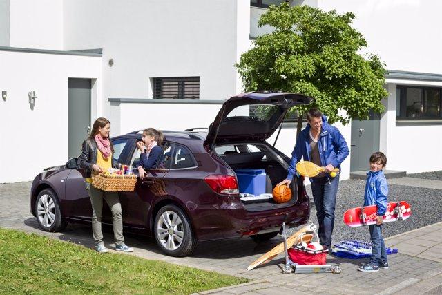 Automóvil, familia, maletero, viaje, coche, vehículo, traslado, carga