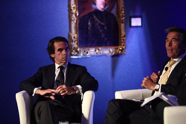Rasmussen y José María Aznar en la apertura de la II Semana Atlántica