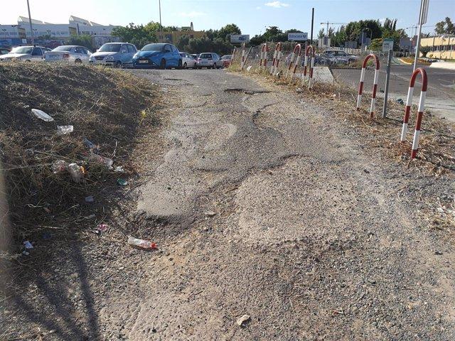 Estado que presenta una zona del parking del Reina Sofía