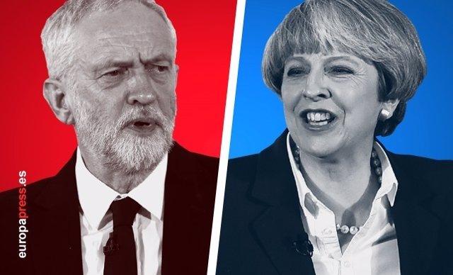 Jeremy Corbyn y Theresa May