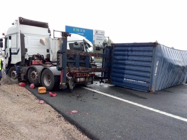 Accidente de los dos camiones
