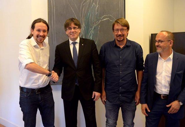 Pablo Iglesias, Carles Puigdemont, Xavier Domènech y Carles Campuzano