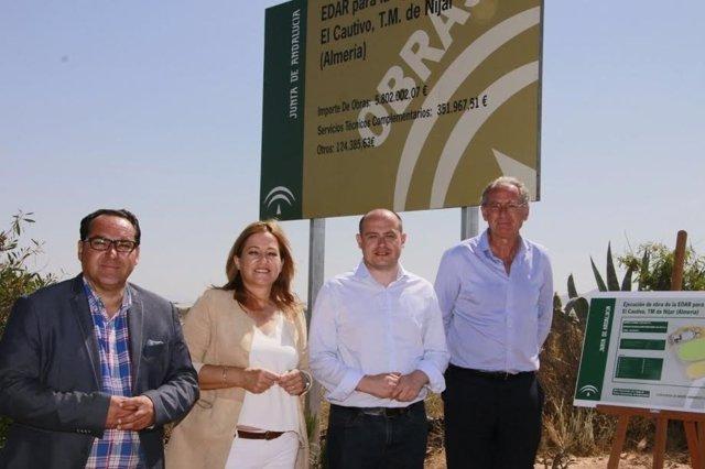 Martínez y Pérez visitan las obras de la EDAR de El Cautivo