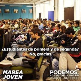 Podemos lanza una campaña contra el estado de las universidades en Madrid y PP le critica el uso de imágenes de Navarra