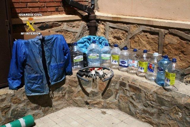 Efectos ocupados a los detenidos en Soria.