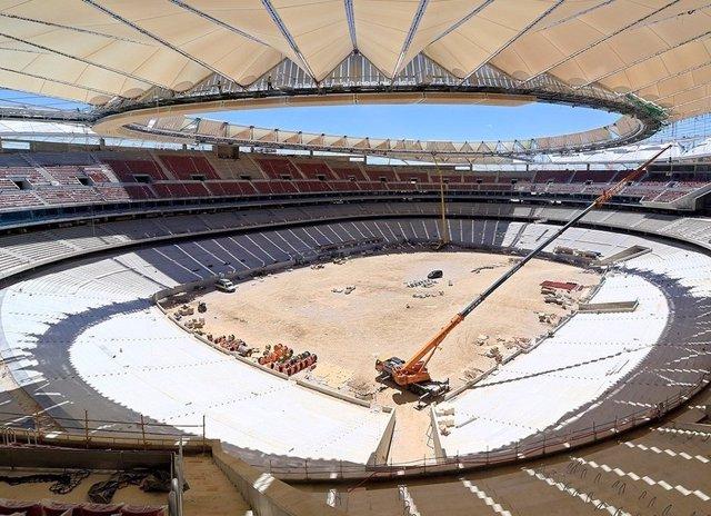 Imagen de las obras del Wanda Metropolitano, nuevo estadio del Atlético