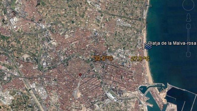 Temperatura máxima de este martes en València