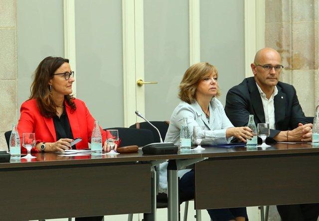 M.Conesa (pta.Diputació de Barcelona), consellers M.Borràs, R.Romeva